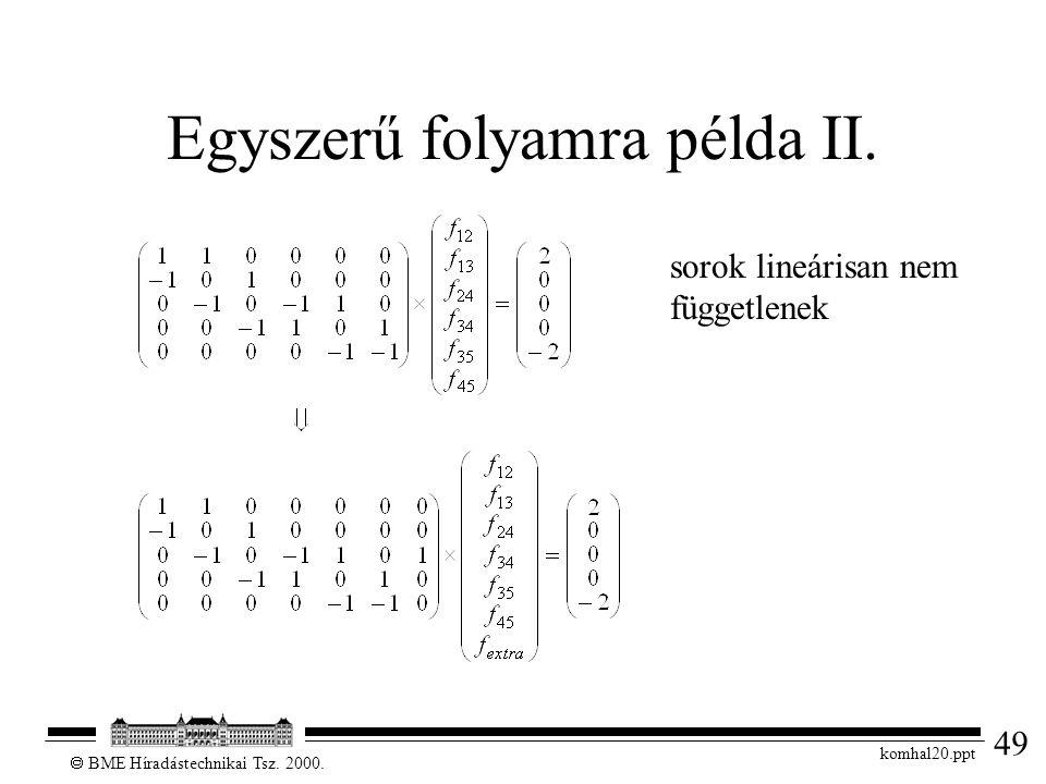 49  BME Híradástechnikai Tsz. 2000. komhal20.ppt Egyszerű folyamra példa II. sorok lineárisan nem függetlenek