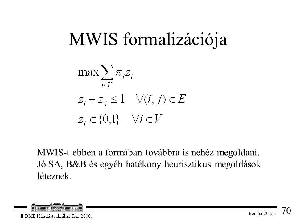 70  BME Híradástechnikai Tsz. 2000. komhal20.ppt MWIS formalizációja MWIS-t ebben a formában továbbra is nehéz megoldani. Jó SA, B&B és egyéb hatékon