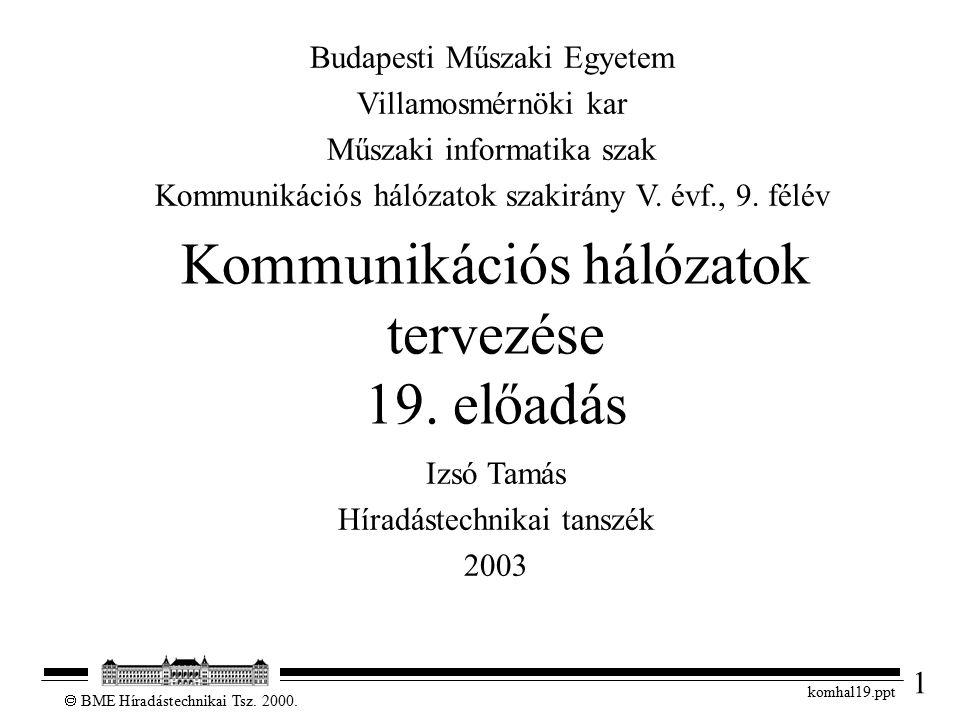 1  BME Híradástechnikai Tsz. 2000. komhal19.ppt Kommunikációs hálózatok tervezése 19. előadás Izsó Tamás Híradástechnikai tanszék 2003 Budapesti Műsz