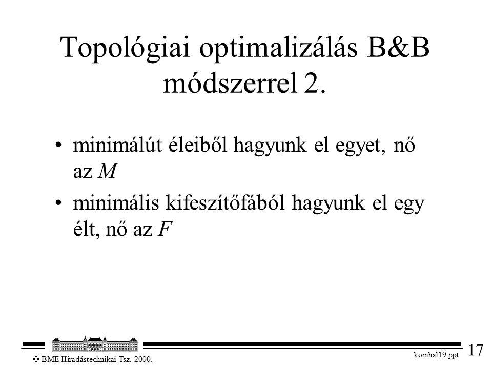 17  BME Híradástechnikai Tsz. 2000. komhal19.ppt Topológiai optimalizálás B&B módszerrel 2. minimálút éleiből hagyunk el egyet, nő az M minimális kif