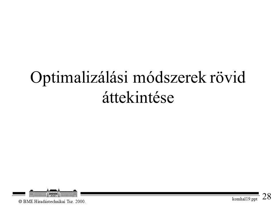 28  BME Híradástechnikai Tsz. 2000. komhal19.ppt Optimalizálási módszerek rövid áttekintése