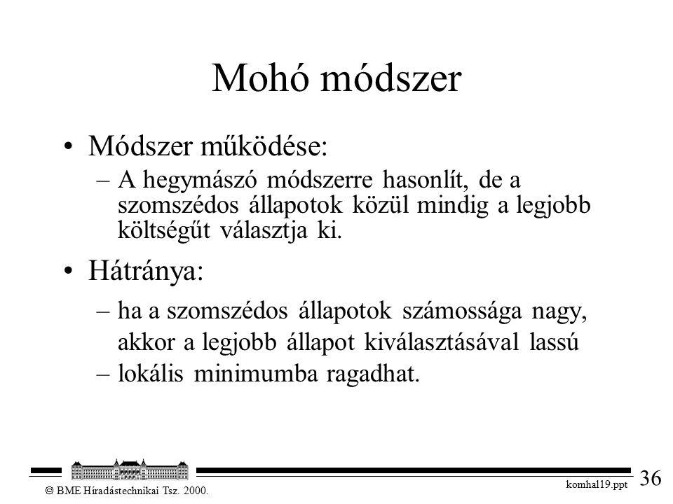 36  BME Híradástechnikai Tsz. 2000. komhal19.ppt Mohó módszer Módszer működése: –A hegymászó módszerre hasonlít, de a szomszédos állapotok közül mind