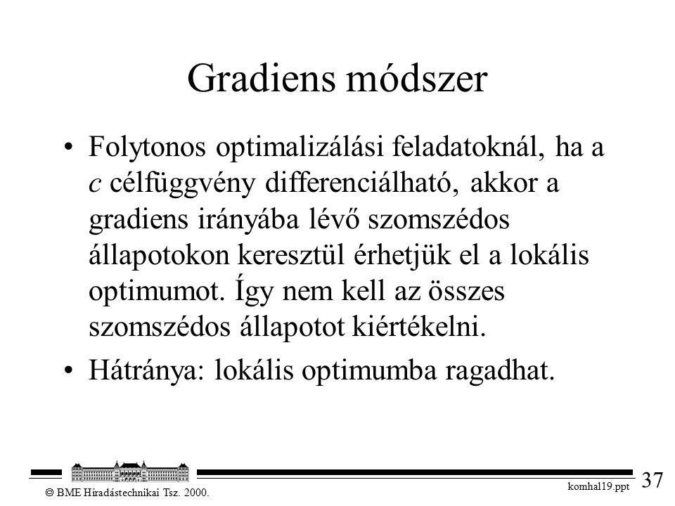 37  BME Híradástechnikai Tsz. 2000. komhal19.ppt Gradiens módszer Folytonos optimalizálási feladatoknál, ha a c célfüggvény differenciálható, akkor a