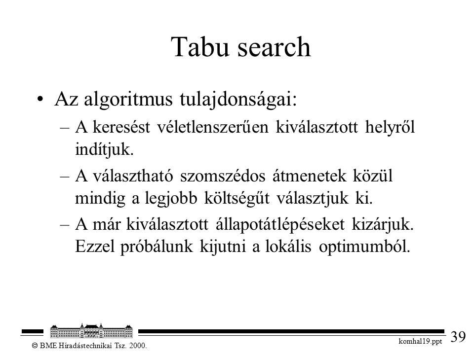 39  BME Híradástechnikai Tsz. 2000. komhal19.ppt Tabu search Az algoritmus tulajdonságai: –A keresést véletlenszerűen kiválasztott helyről indítjuk.
