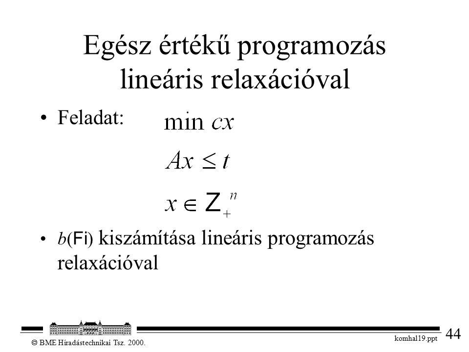 44  BME Híradástechnikai Tsz. 2000. komhal19.ppt Egész értékű programozás lineáris relaxációval Feladat: b( Fi ) kiszámítása lineáris programozás rel