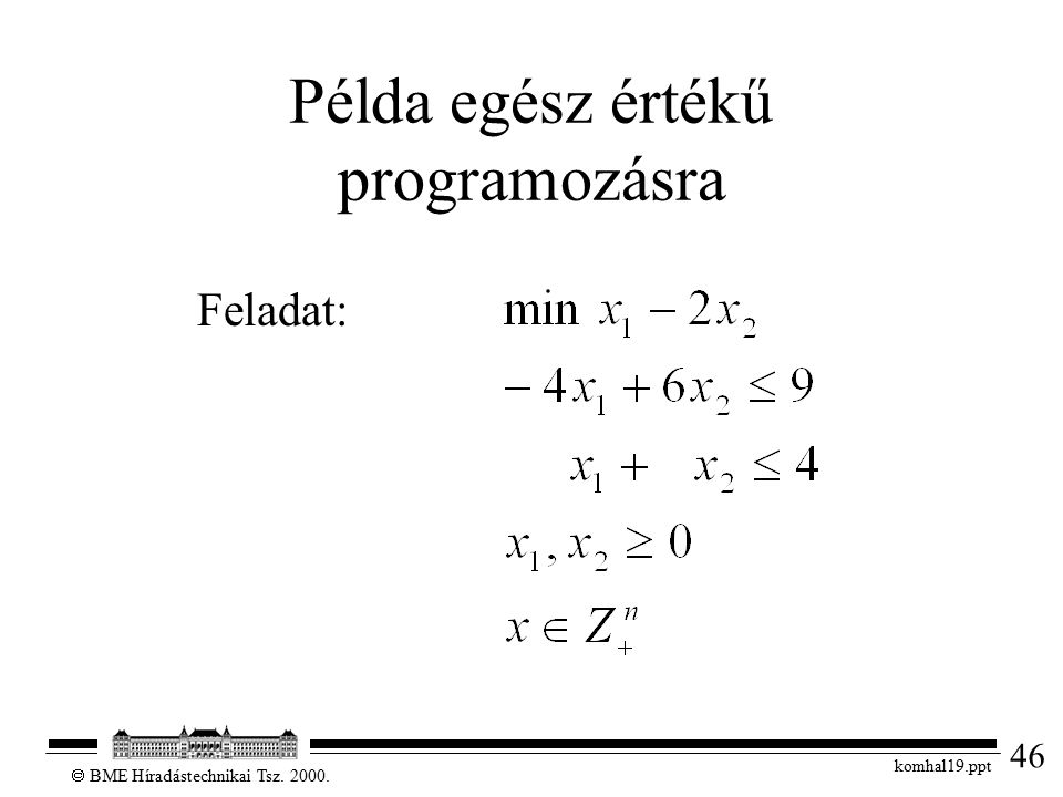 46  BME Híradástechnikai Tsz. 2000. komhal19.ppt Példa egész értékű programozásra Feladat: