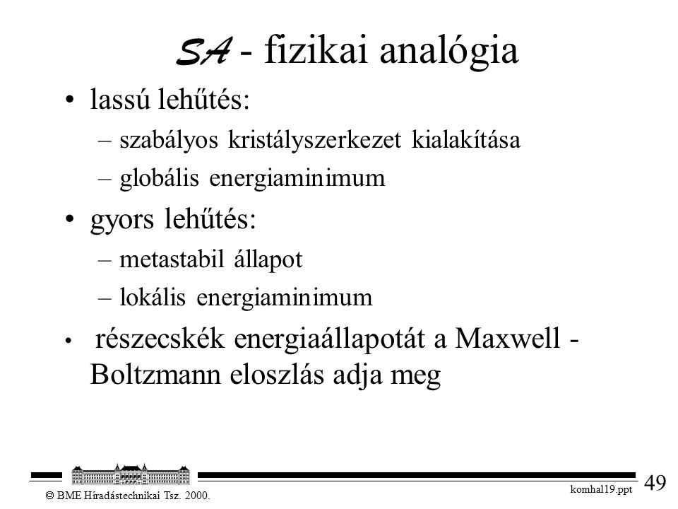 49  BME Híradástechnikai Tsz. 2000. komhal19.ppt SA - fizikai analógia lassú lehűtés: –szabályos kristályszerkezet kialakítása –globális energiaminim