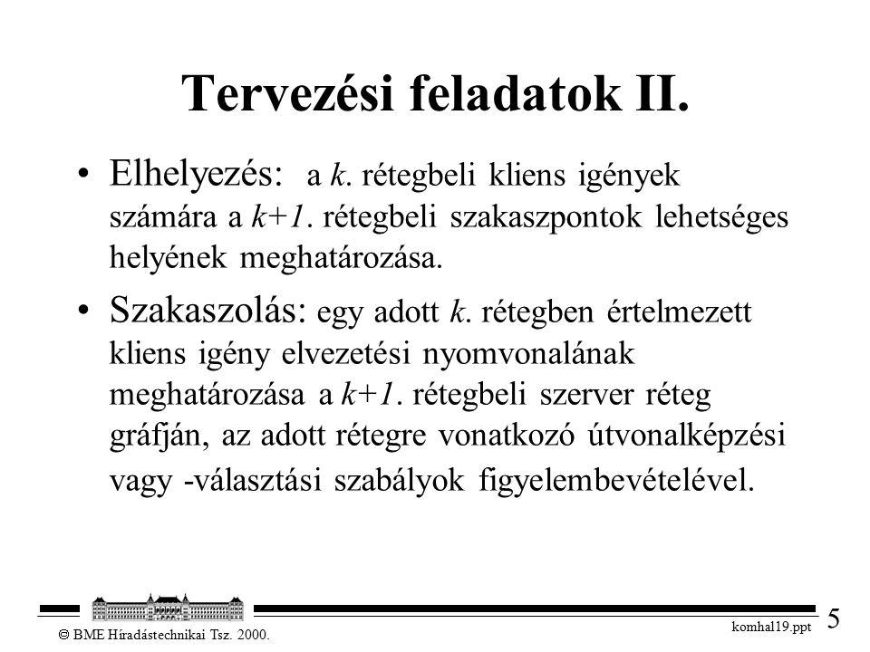 5  BME Híradástechnikai Tsz. 2000. komhal19.ppt Tervezési feladatok II.