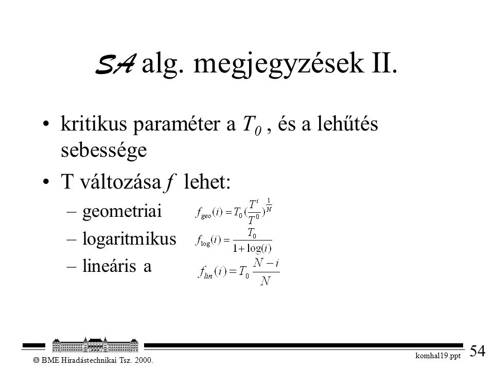 54  BME Híradástechnikai Tsz. 2000. komhal19.ppt SA alg. megjegyzések II. kritikus paraméter a T 0, és a lehűtés sebessége T változása f lehet: –geom