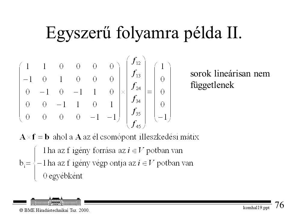 76  BME Híradástechnikai Tsz. 2000. komhal19.ppt Egyszerű folyamra példa II. sorok lineárisan nem függetlenek