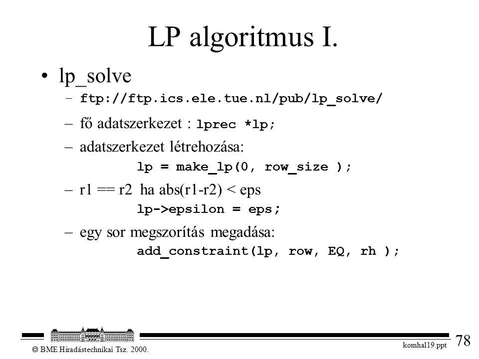 78  BME Híradástechnikai Tsz. 2000. komhal19.ppt LP algoritmus I. lp_solve –ftp://ftp.ics.ele.tue.nl/pub/lp_solve/ –fő adatszerkezet : lprec *lp; –ad