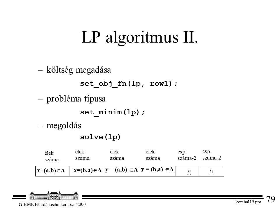 79  BME Híradástechnikai Tsz. 2000. komhal19.ppt LP algoritmus II. –költség megadása set_obj_fn(lp, row1); –probléma típusa set_minim(lp); –megoldás