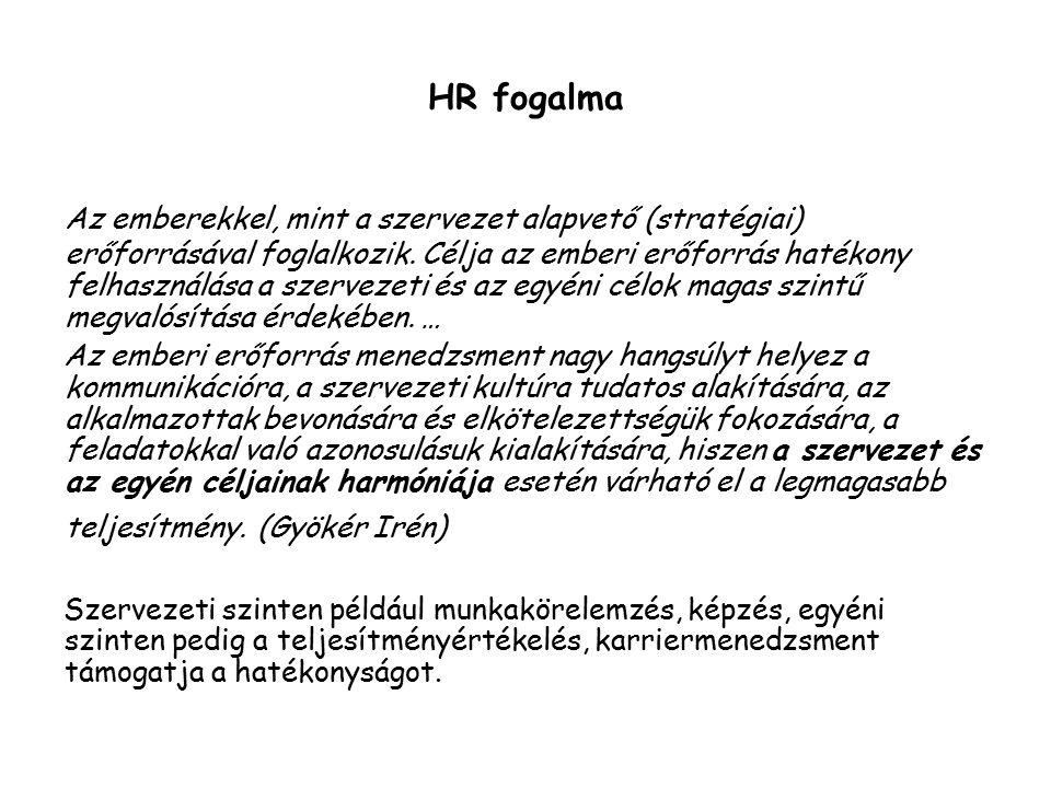 HR fogalma Az emberekkel, mint a szervezet alapvető (stratégiai) erőforrásával foglalkozik.