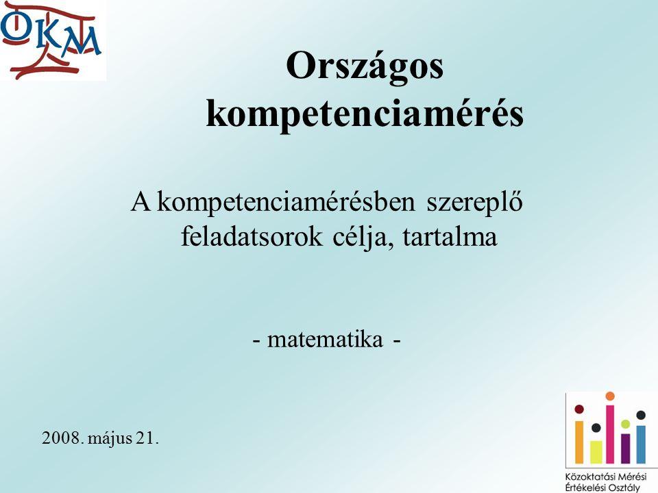 Országos kompetenciamérés 2008.május 21.