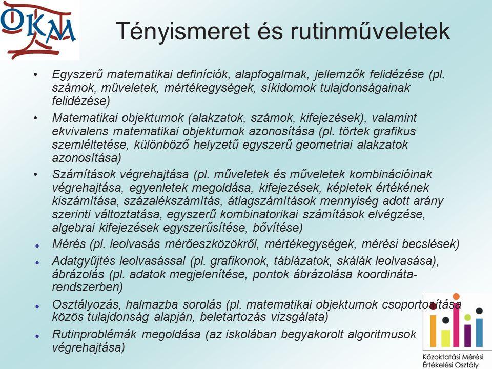 Tényismeret és rutinműveletek Egyszerű matematikai definíciók, alapfogalmak, jellemzők felidézése (pl.