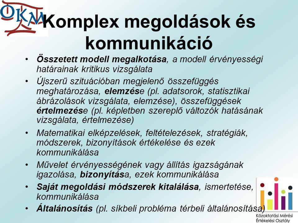 Komplex megoldások és kommunikáció Összetett modell megalkotása, a modell érvényességi határainak kritikus vizsgálata Újszerű szituációban megjelenő összefüggés meghatározása, elemzése (pl.
