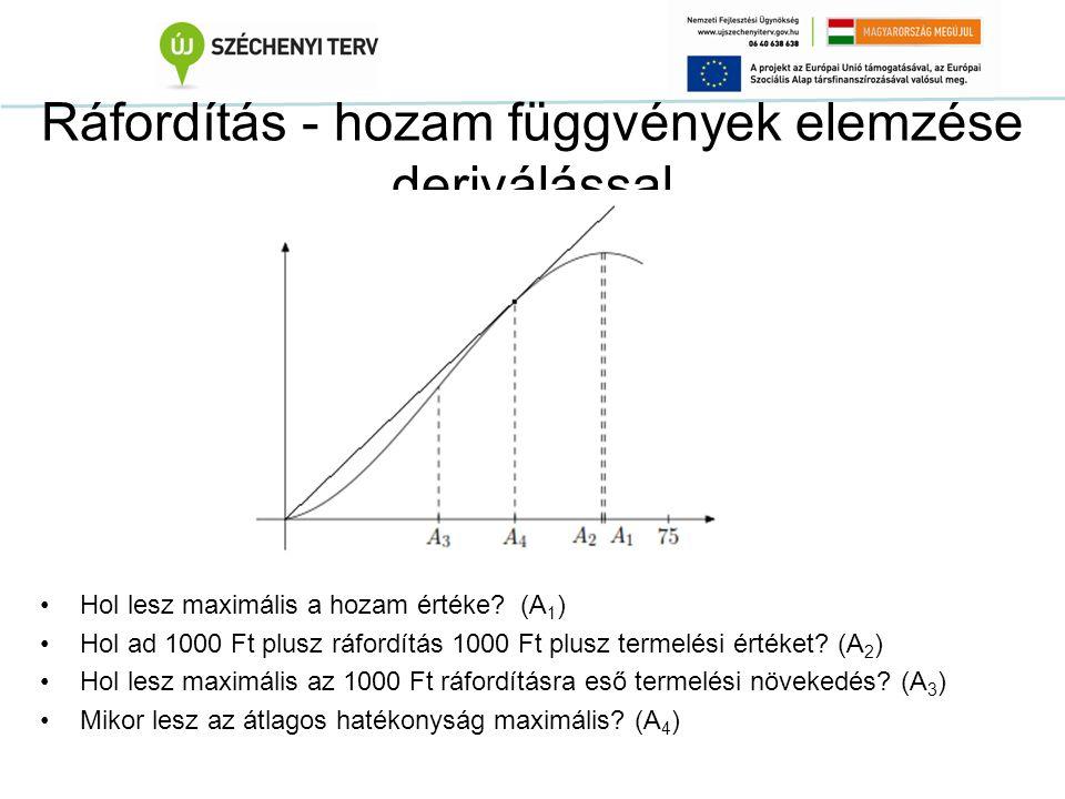 Ráfordítás - hozam függvények elemzése deriválással Hol lesz maximális a hozam értéke? (A 1 ) Hol ad 1000 Ft plusz ráfordítás 1000 Ft plusz termelési