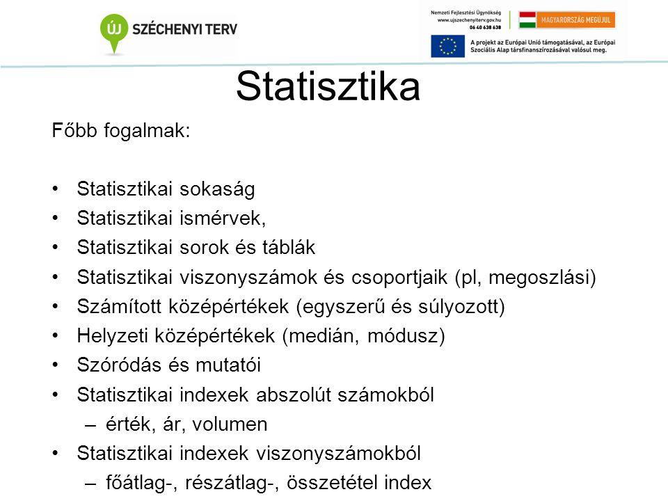 Statisztika Főbb fogalmak: Statisztikai sokaság Statisztikai ismérvek, Statisztikai sorok és táblák Statisztikai viszonyszámok és csoportjaik (pl, meg