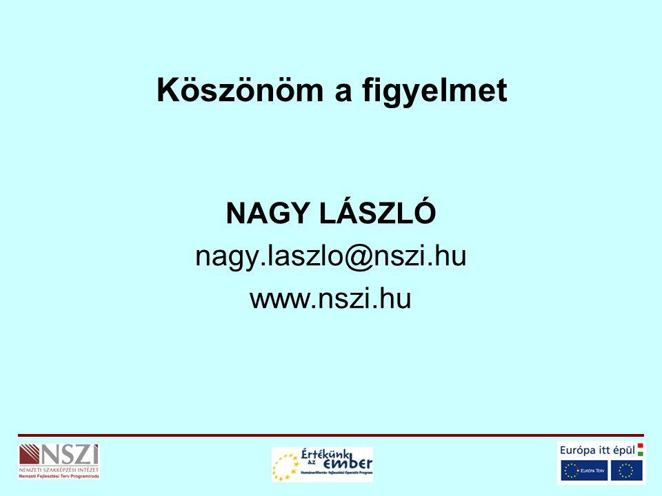Köszönöm a figyelmet NAGY LÁSZLÓ nagy.laszlo@nszi.hu www.nszi.hu