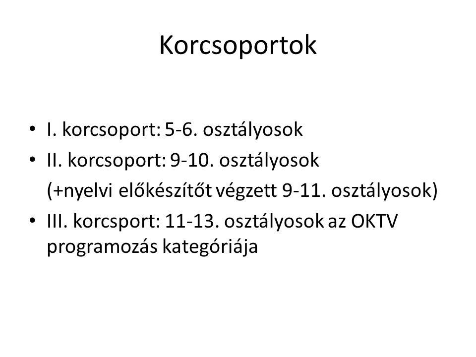 Korcsoportok I. korcsoport: 5-6. osztályosok II.