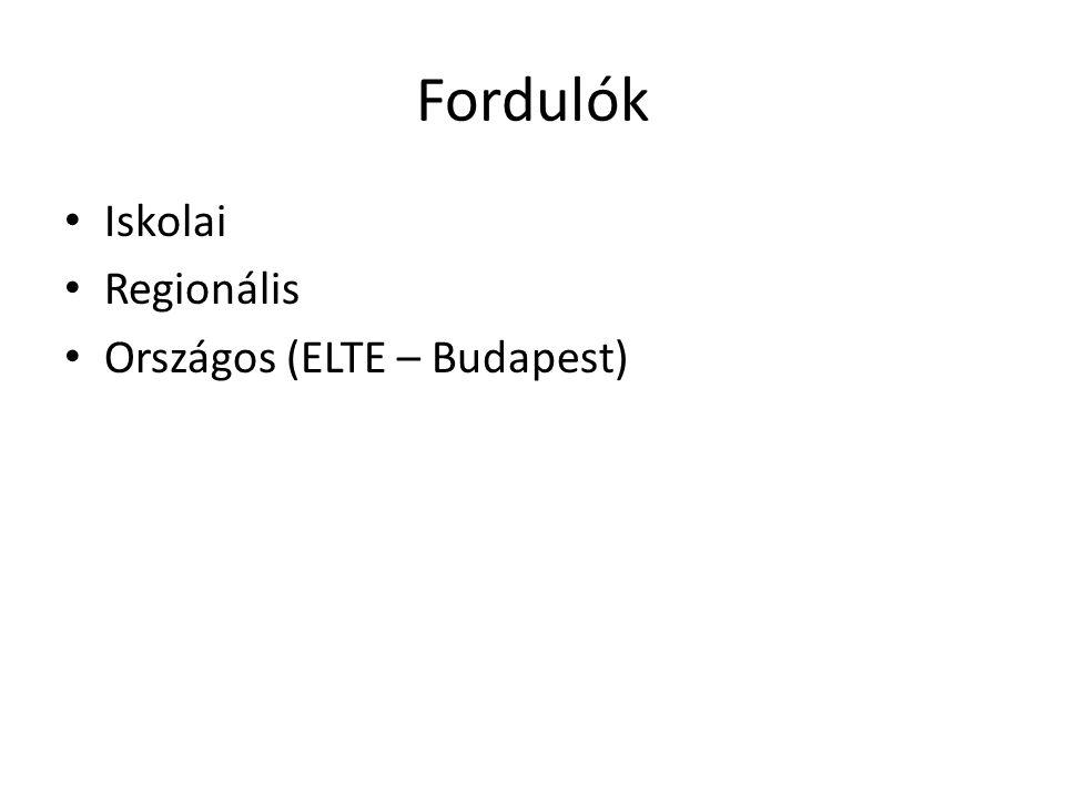 Fordulók Iskolai Regionális Országos (ELTE – Budapest)