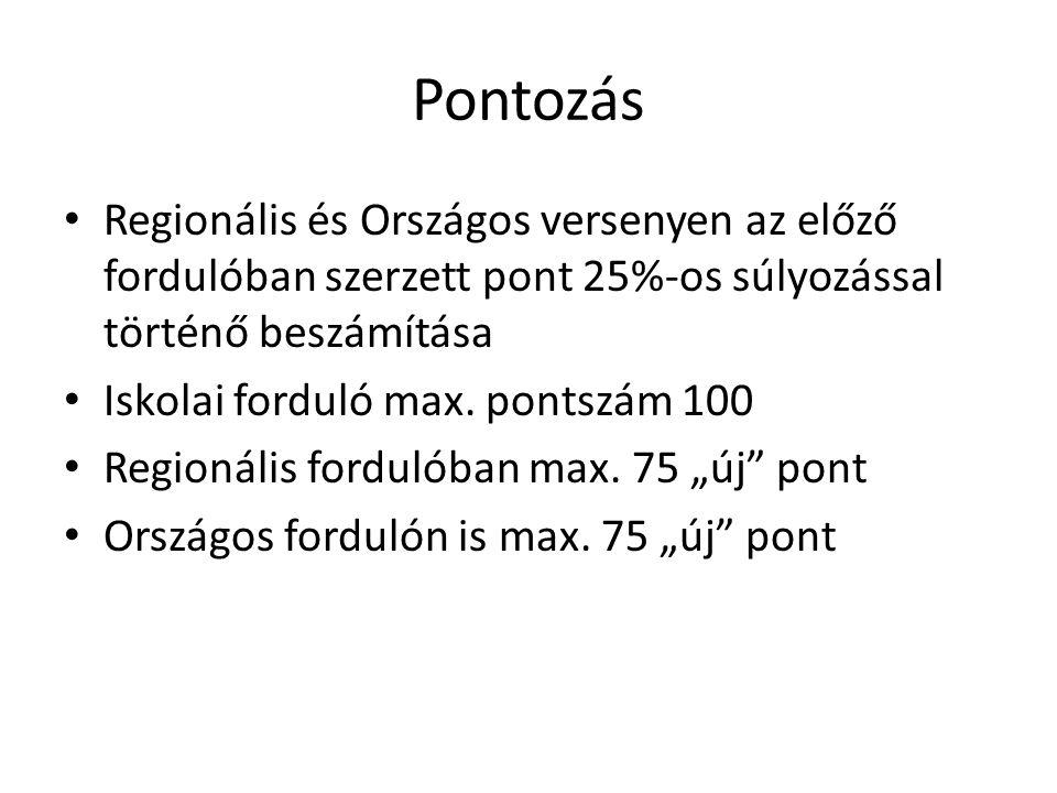 Pontozás Regionális és Országos versenyen az előző fordulóban szerzett pont 25%-os súlyozással történő beszámítása Iskolai forduló max.