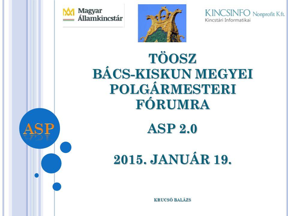 TÖOSZ BÁCS-KISKUN MEGYEI POLGÁRMESTERI FÓRUMRA ASP 2.0 2015. JANUÁR 19. KRUCSÓ BALÁZS