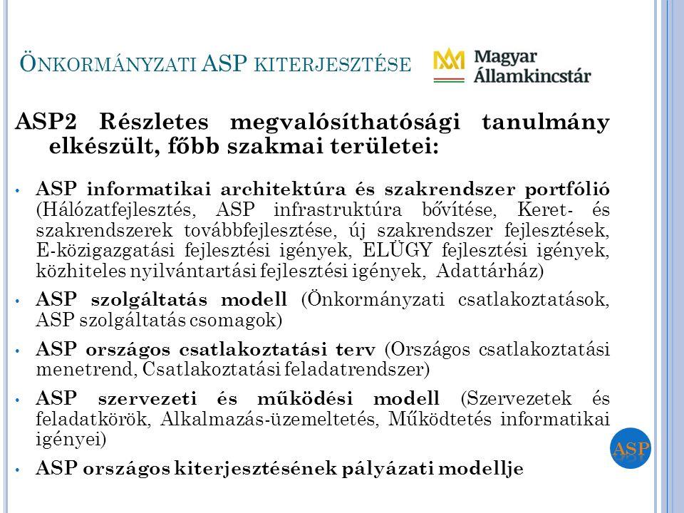 ASP2 Részletes megvalósíthatósági tanulmány elkészült, főbb szakmai területei: ASP informatikai architektúra és szakrendszer portfólió (Hálózatfejlesz