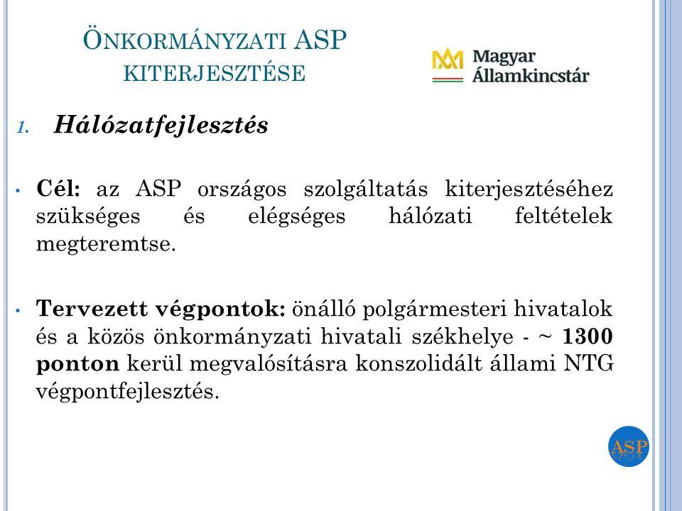 1. Hálózatfejlesztés Cél: az ASP országos szolgáltatás kiterjesztéséhez szükséges és elégséges hálózati feltételek megteremtse. Tervezett végpontok: ö