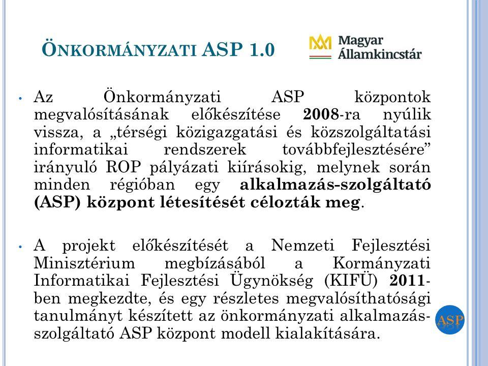 """Ö NKORMÁNYZATI ASP 1.0 Az Önkormányzati ASP központok megvalósításának előkészítése 2008 -ra nyúlik vissza, a """"térségi közigazgatási és közszolgáltatá"""