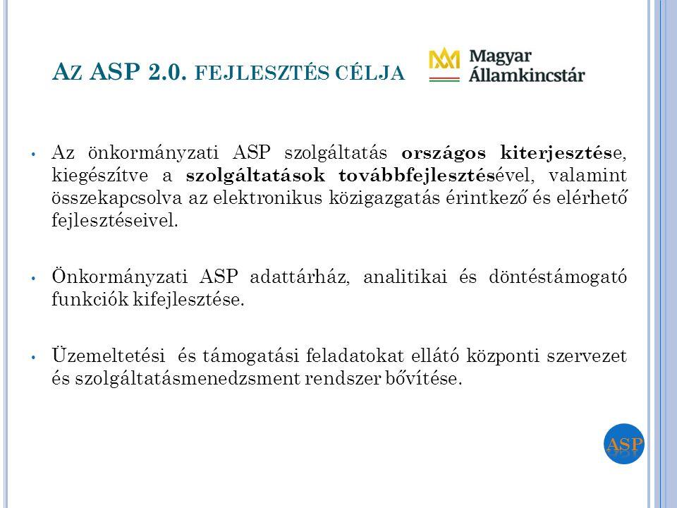 A Z ASP 2.0. FEJLESZTÉS CÉLJA Az önkormányzati ASP szolgáltatás országos kiterjesztés e, kiegészítve a szolgáltatások továbbfejlesztés ével, valamint