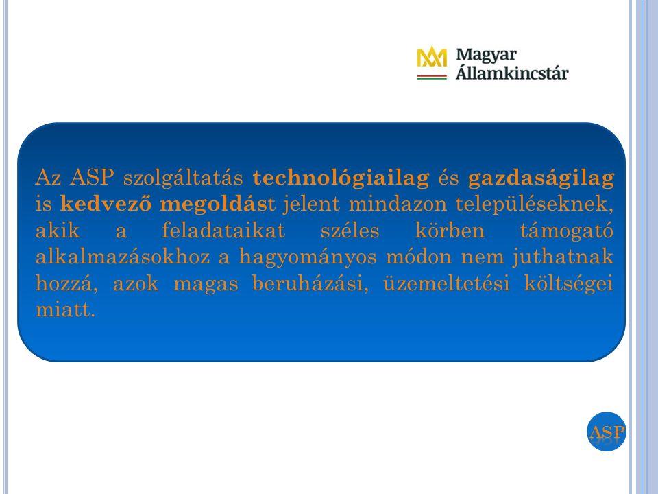 Az ASP szolgáltatás technológiailag és gazdaságilag is kedvező megoldás t jelent mindazon településeknek, akik a feladataikat széles körben támogató a