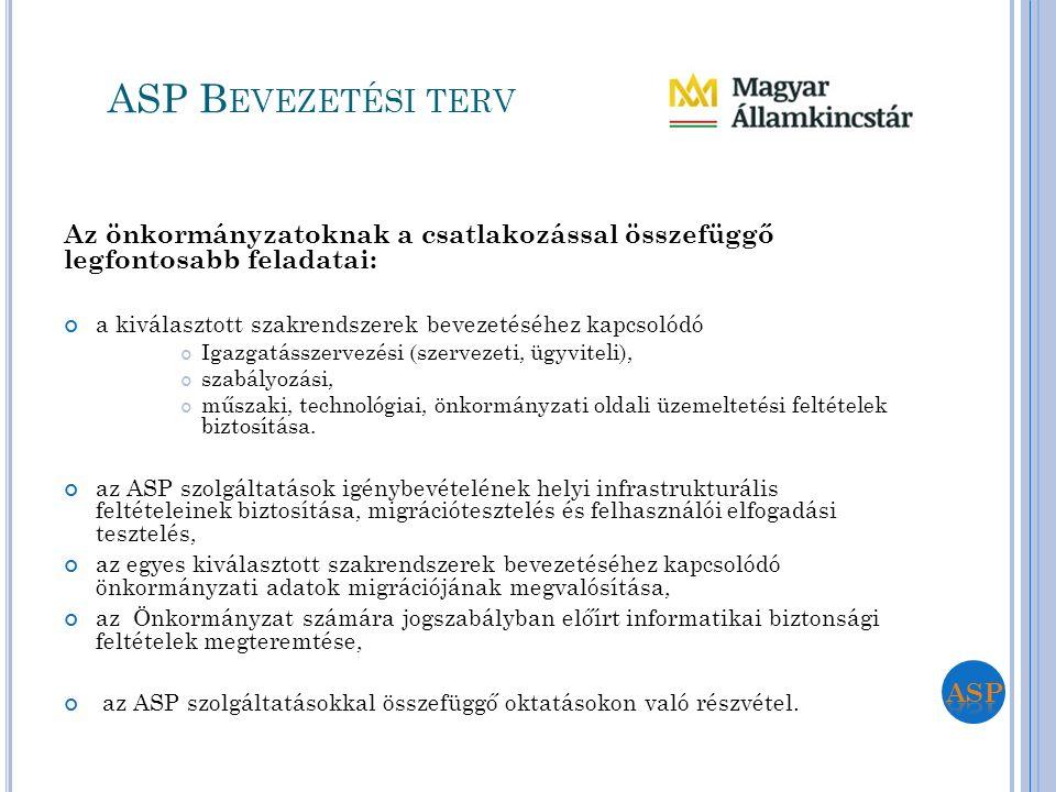 Az önkormányzatoknak a csatlakozással összefüggő legfontosabb feladatai: a kiválasztott szakrendszerek bevezetéséhez kapcsolódó Igazgatásszervezési (s