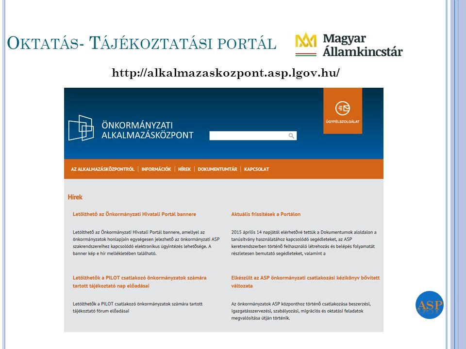 http://alkalmazaskozpont.asp.lgov.hu/ O KTATÁS - T ÁJÉKOZTATÁSI PORTÁL