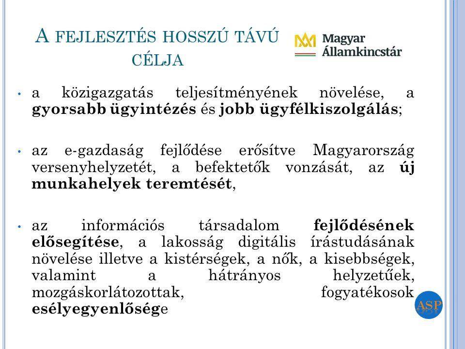 a közigazgatás teljesítményének növelése, a gyorsabb ügyintézés és jobb ügyfélkiszolgálás ; az e-gazdaság fejlődése erősítve Magyarország versenyhelyz