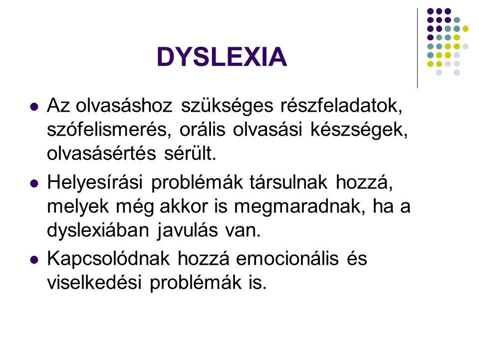 DYSLEXIA Az olvasáshoz szükséges részfeladatok, szófelismerés, orális olvasási készségek, olvasásértés sérült.