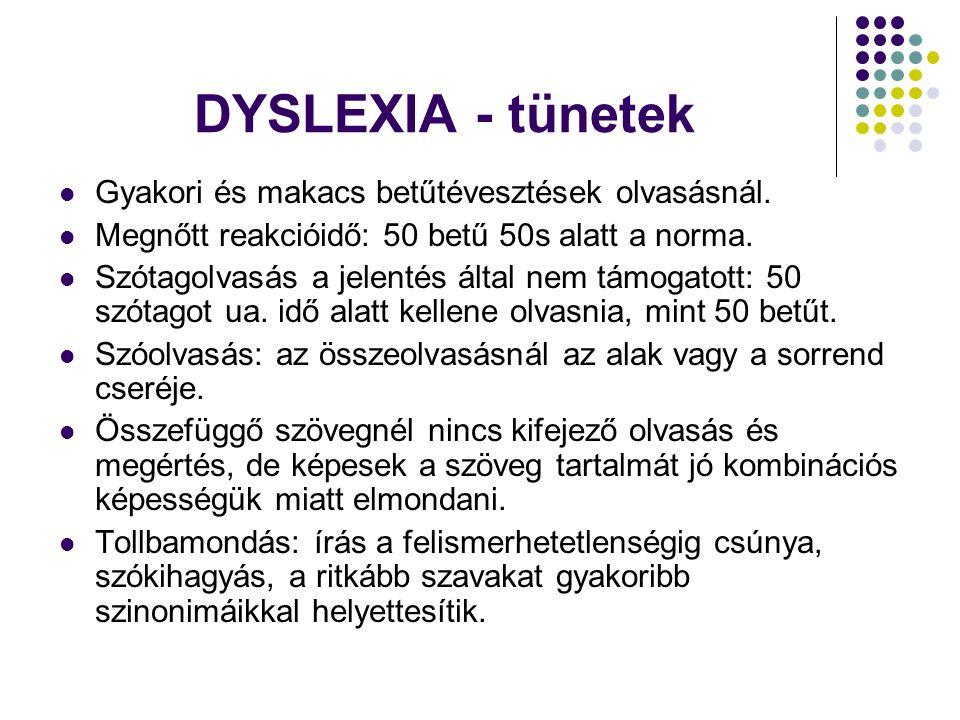 DYSLEXIA - tünetek Gyakori és makacs betűtévesztések olvasásnál.