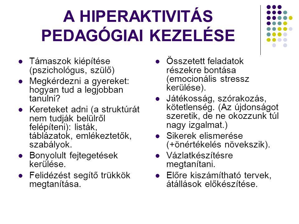 A HIPERAKTIVITÁS PEDAGÓGIAI KEZELÉSE Támaszok kiépítése (pszichológus, szülő) Megkérdezni a gyereket: hogyan tud a legjobban tanulni.