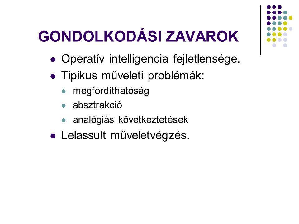 GONDOLKODÁSI ZAVAROK Operatív intelligencia fejletlensége.