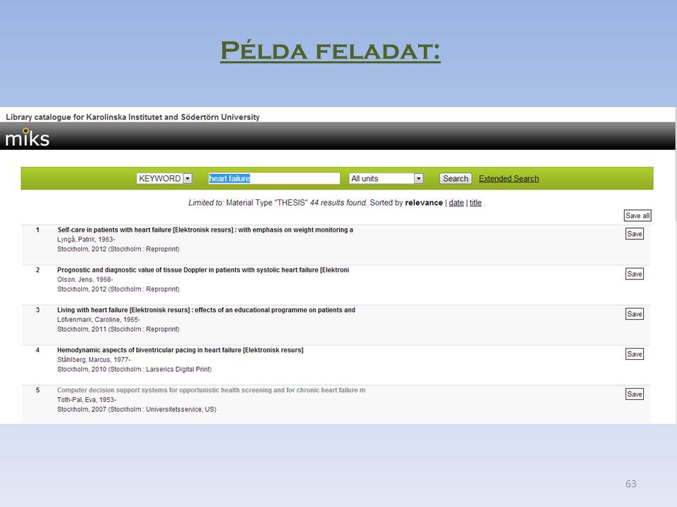 63 Példa feladat: