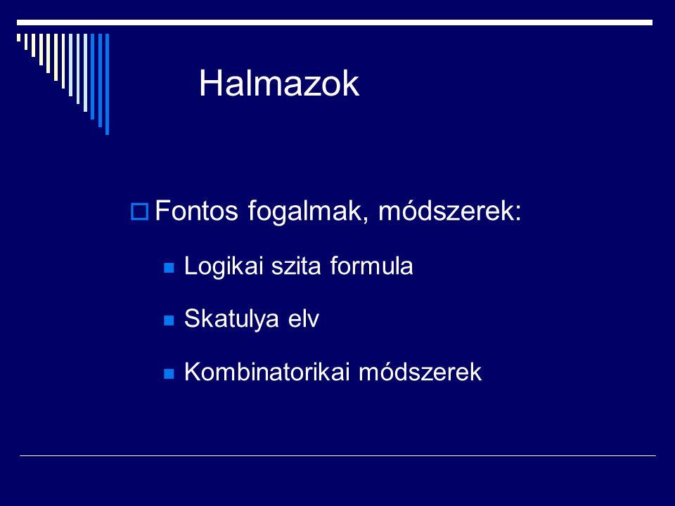 Halmazok  Fontos fogalmak, módszerek: Logikai szita formula Skatulya elv Kombinatorikai módszerek