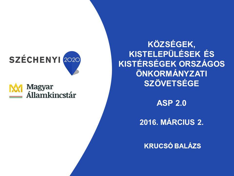KÖZSÉGEK, KISTELEPÜLÉSEK ÉS KISTÉRSÉGEK ORSZÁGOS ÖNKORMÁNYZATI SZÖVETSÉGE ASP 2.0 2016.