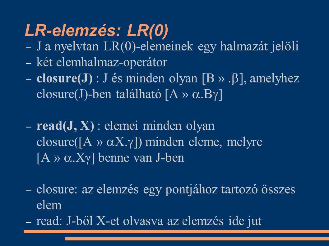 LR-elemzés: LR(0) – J a nyelvtan LR(0)-elemeinek egy halmazát jelöli – két elemhalmaz-operátor – closure(J) : J és minden olyan [B ».