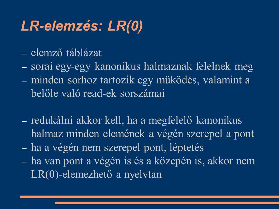 LR-elemzés: LR(0) – elemző táblázat – sorai egy-egy kanonikus halmaznak felelnek meg – minden sorhoz tartozik egy működés, valamint a belőle való read-ek sorszámai – redukálni akkor kell, ha a megfelelő kanonikus halmaz minden elemének a végén szerepel a pont – ha a végén nem szerepel pont, léptetés – ha van pont a végén is és a közepén is, akkor nem LR(0)-elemezhető a nyelvtan