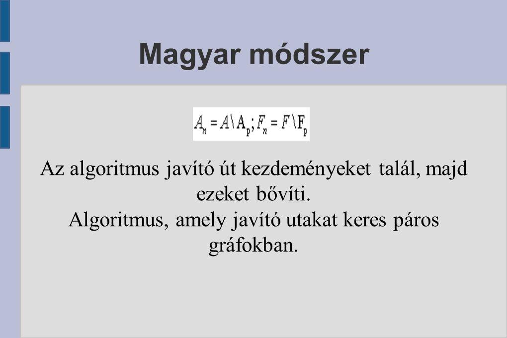 Magyar módszer Az algoritmus javító út kezdeményeket talál, majd ezeket bővíti. Algoritmus, amely javító utakat keres páros gráfokban.