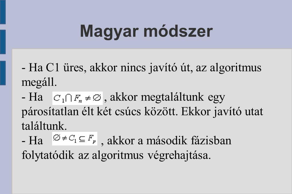 Magyar módszer - Ha C1 üres, akkor nincs javító út, az algoritmus megáll. - Ha, akkor megtaláltunk egy párosítatlan élt két csúcs között. Ekkor javító