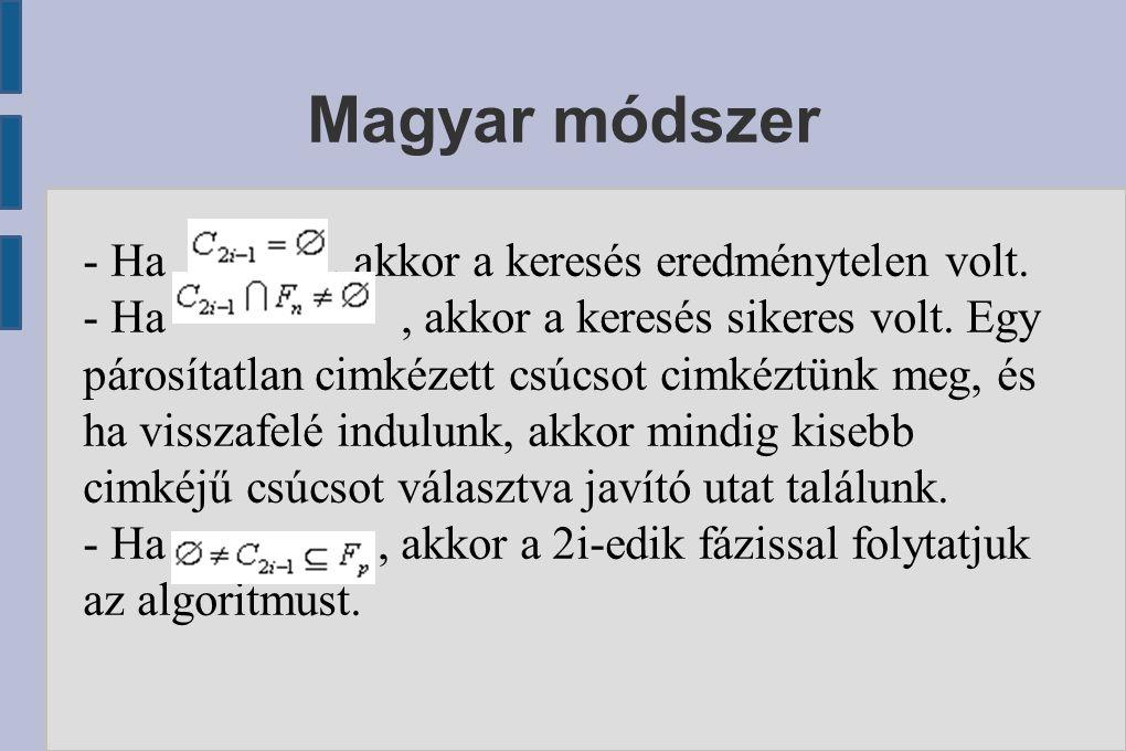 Magyar módszer - Ha, akkor a keresés eredménytelen volt. - Ha, akkor a keresés sikeres volt. Egy párosítatlan cimkézett csúcsot cimkéztünk meg, és ha