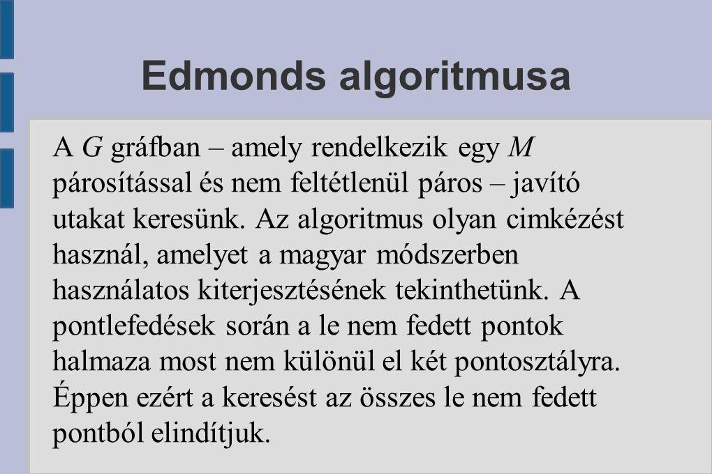 Edmonds algoritmusa A G gráfban – amely rendelkezik egy M párosítással és nem feltétlenül páros – javító utakat keresünk. Az algoritmus olyan cimkézés