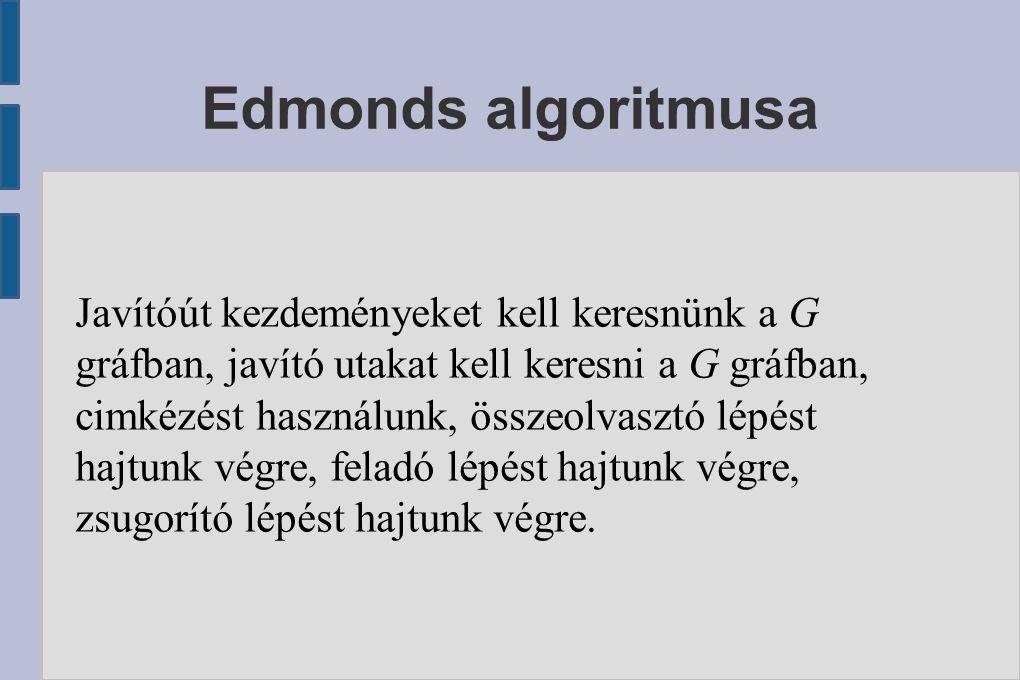 Edmonds algoritmusa Javítóút kezdeményeket kell keresnünk a G gráfban, javító utakat kell keresni a G gráfban, cimkézést használunk, összeolvasztó lép