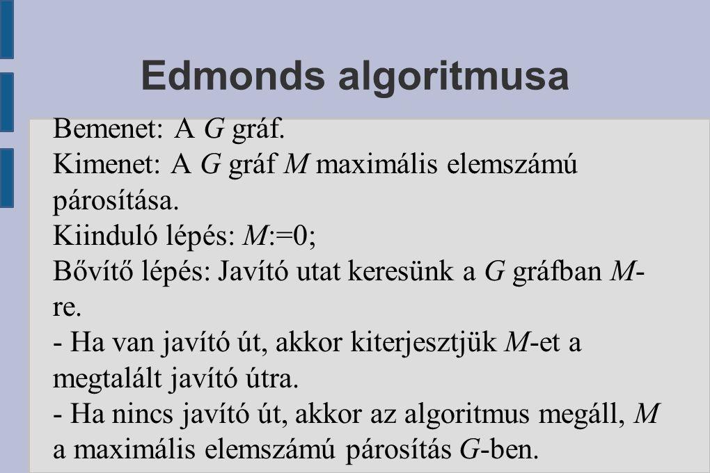 Edmonds algoritmusa Bemenet: A G gráf. Kimenet: A G gráf M maximális elemszámú párosítása. Kiinduló lépés: M:=0; Bővítő lépés: Javító utat keresünk a